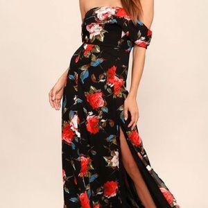 Lulu's off the shoulder floral maxi dress